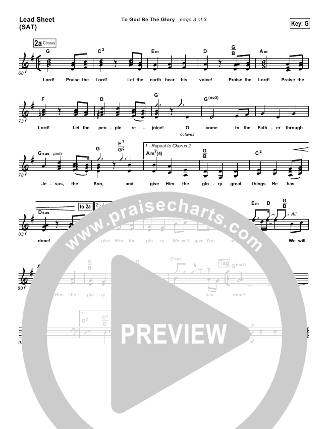 To God Be The Glory Lead & Piano/Vocal (PraiseCharts Band)