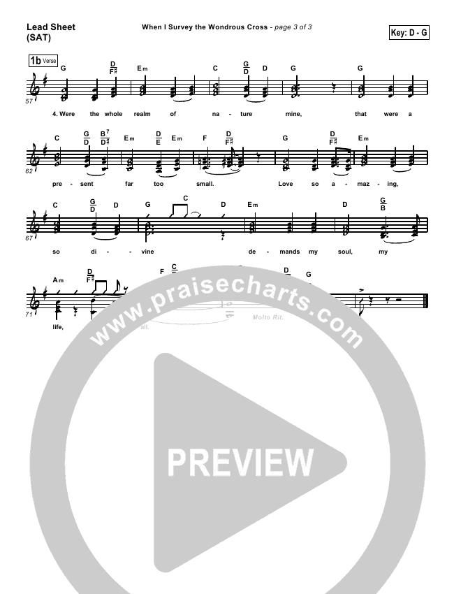 When I Survey The Wondrous Cross Lead & Piano/Vocal (PraiseCharts Band / Kari Jobe / Arr. Dan Galbraith)