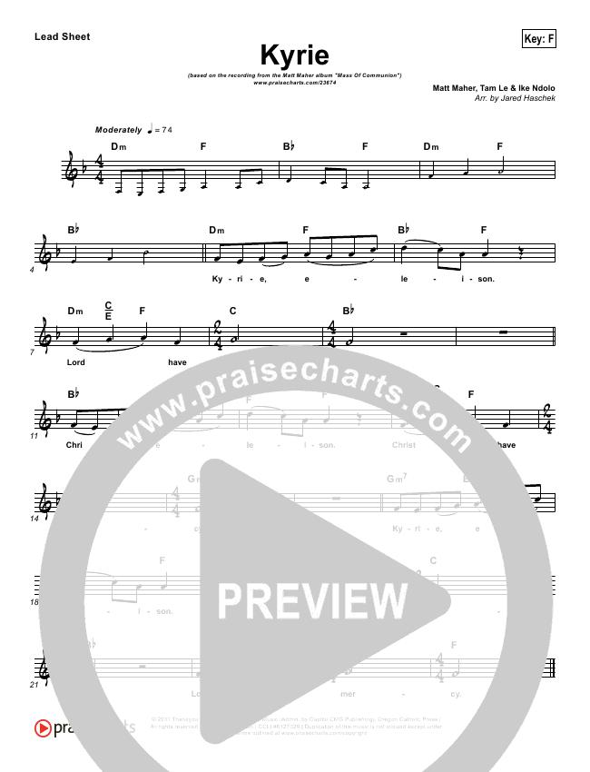 Kyrie Lead Sheet (Matt Maher)