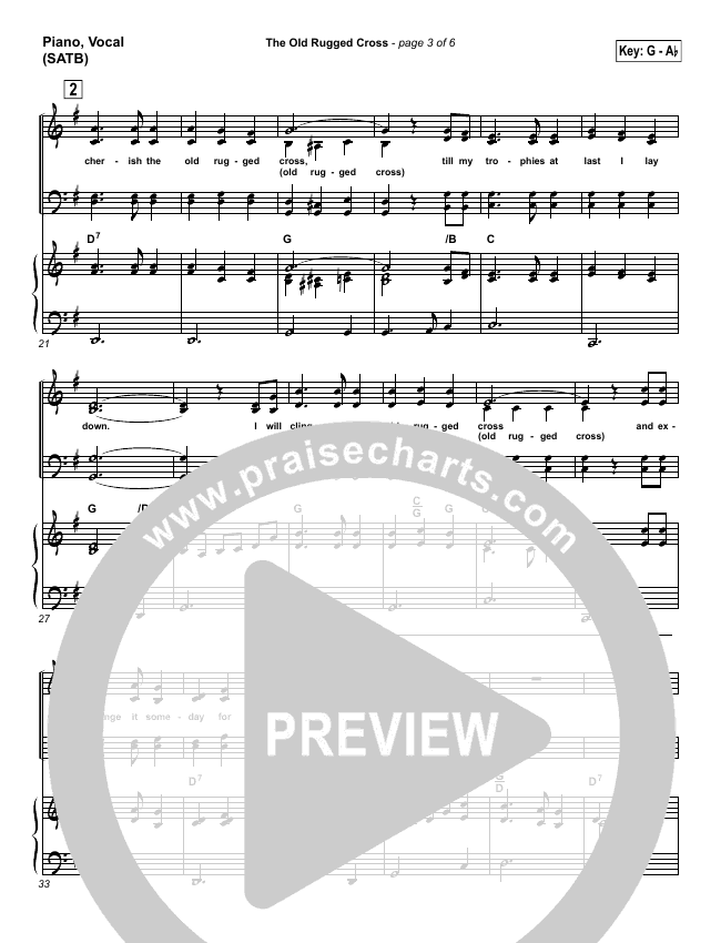 The Old Rugged Cross Piano/Vocal (SATB) (Traditional Hymn / PraiseCharts)
