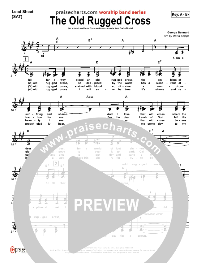 The Old Rugged Cross Lead & Piano/Vocal (Traditional Hymn / PraiseCharts)