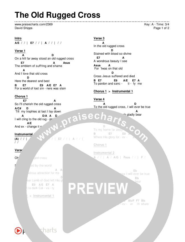 The Old Rugged Cross Chords & Lyrics (Traditional Hymn / PraiseCharts)
