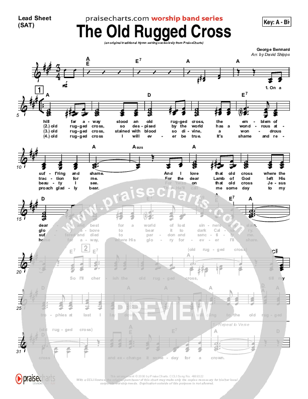 The Old Rugged Cross Lead Sheet (SAT) (Traditional Hymn / PraiseCharts)