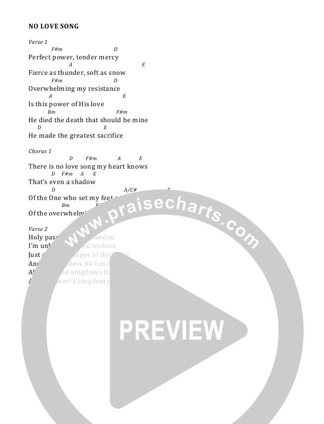 No Love Song Chord Chart (Andy Needham Band)