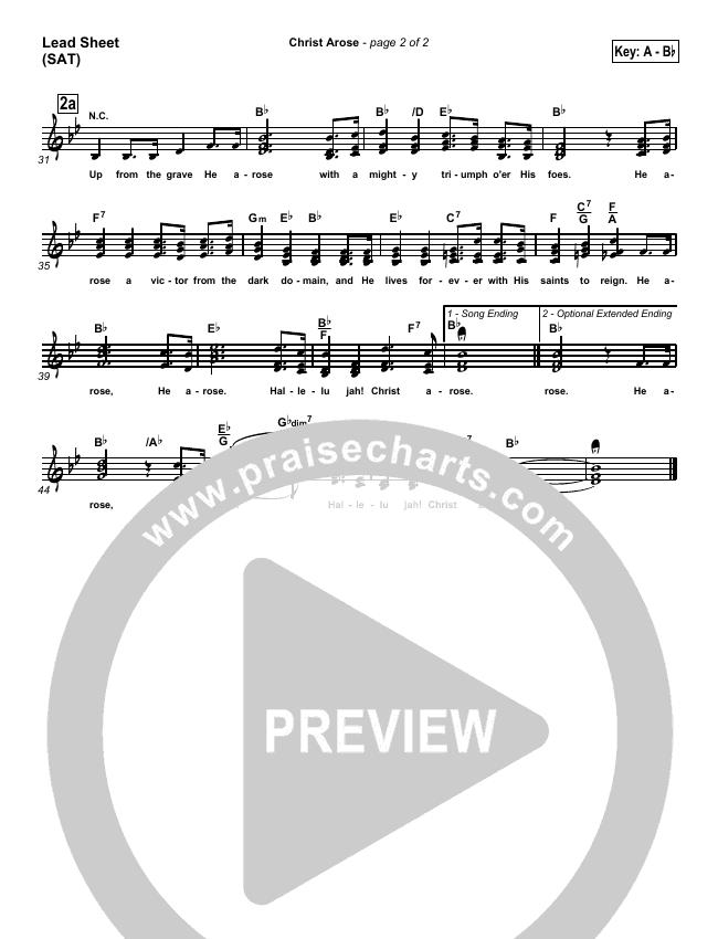 Christ Arose Lead Sheet (SAT) (PraiseCharts / Traditional Hymn)