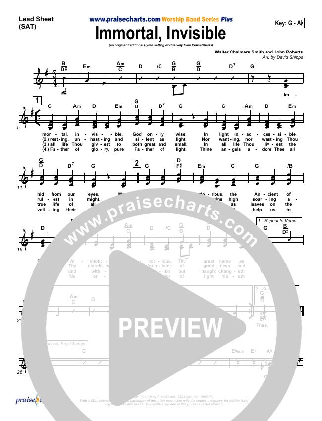 Immortal Invisible Lead Sheet (SAT) (Traditional Hymn / PraiseCharts)