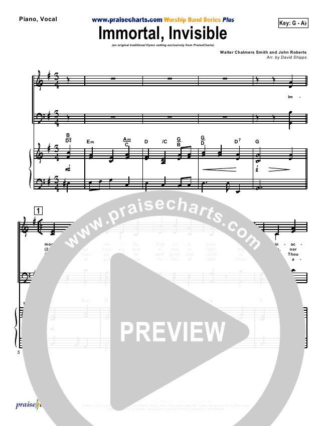 Immortal Invisible Orchestration (Traditional Hymn / PraiseCharts)