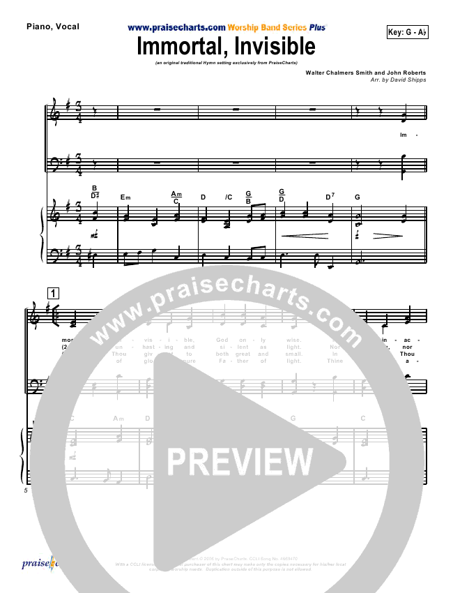 Immortal Invisible Piano/Vocal Pack (Traditional Hymn / PraiseCharts)