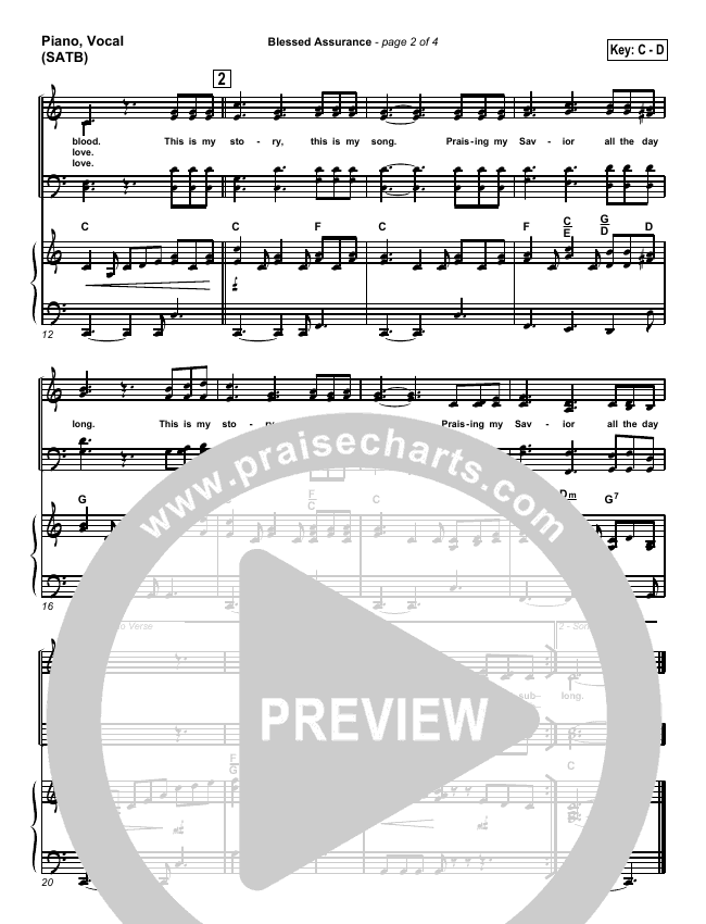 Blessed Assurance Piano/Vocal (SATB) (Traditional Hymn / PraiseCharts)