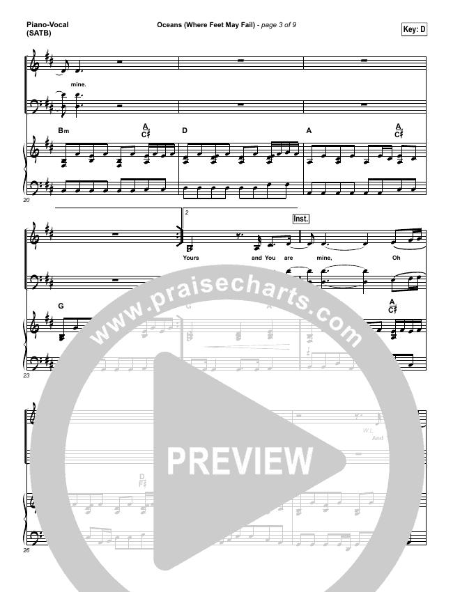 Oceans (Where Feet May Fail) Piano/Vocal (SATB) (Hillsong UNITED / Taya Smith)