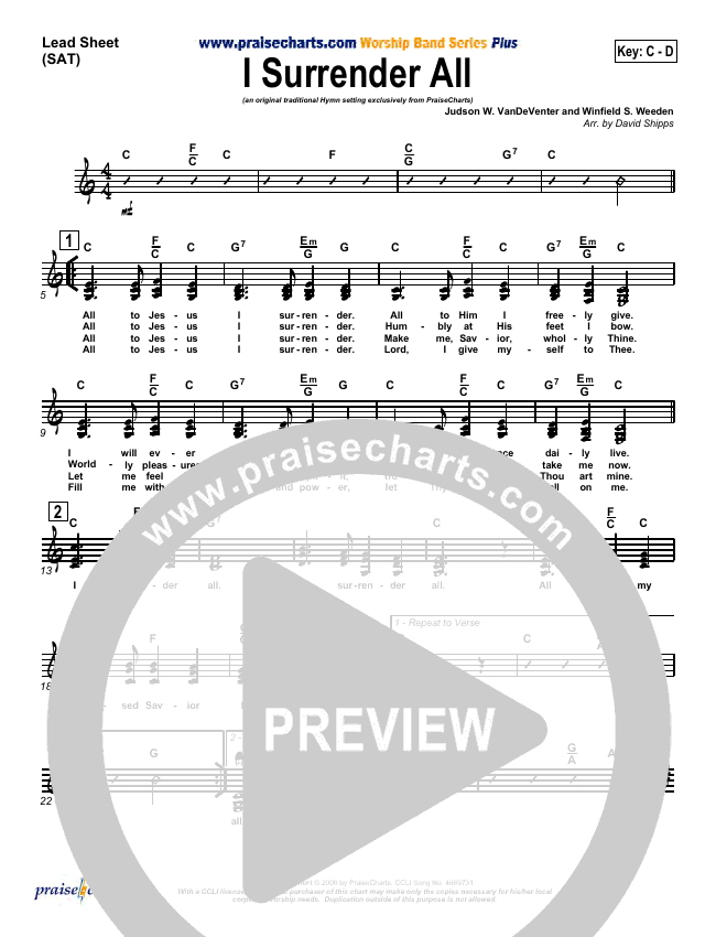 I Surrender All Lead Sheet (SAT) (Traditional Hymn / PraiseCharts)