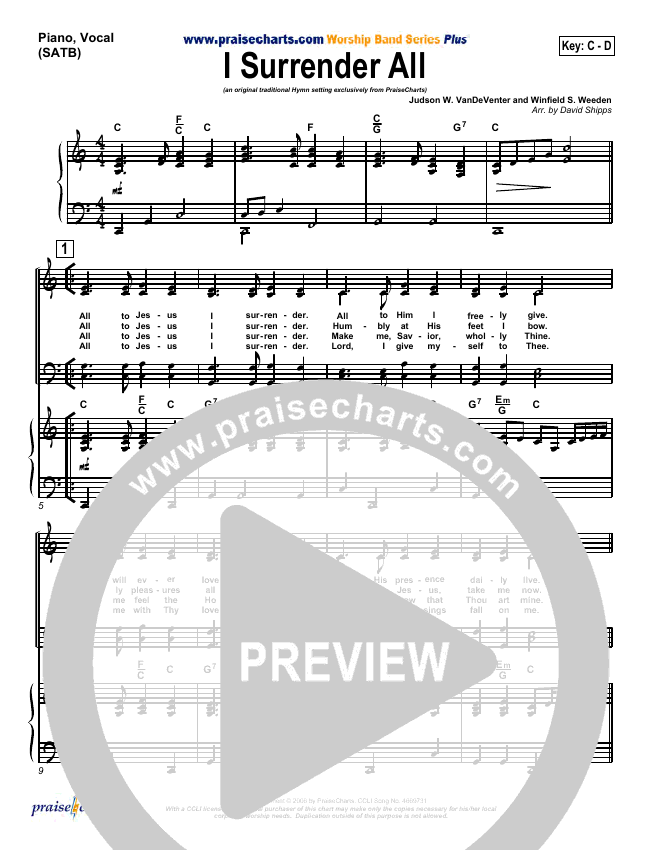 I Surrender All Piano/Vocal (SATB) (Traditional Hymn / PraiseCharts)
