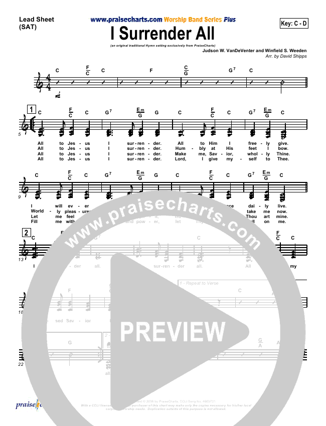 I Surrender All Lead & Piano/Vocal (Traditional Hymn / PraiseCharts)