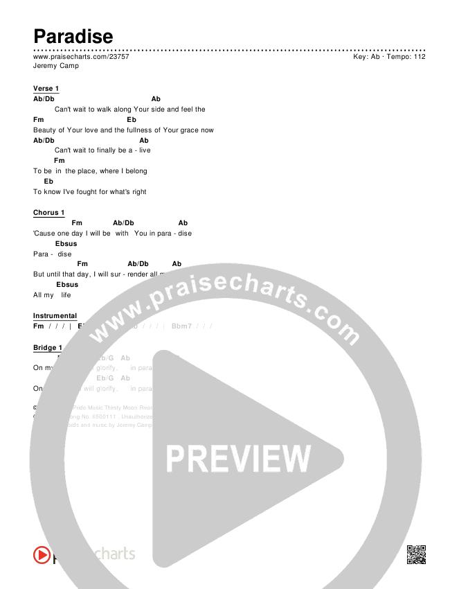 Paradise Chords - Jeremy Camp   PraiseCharts