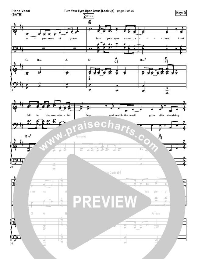 Turn Your Eyes Upon Jesus (Look Up) Lead Sheet & Piano/Vocal ...