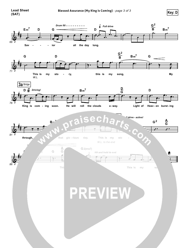 Blessed Assurance (My King Is Coming) Piano/Vocal Pack (Matthew West)