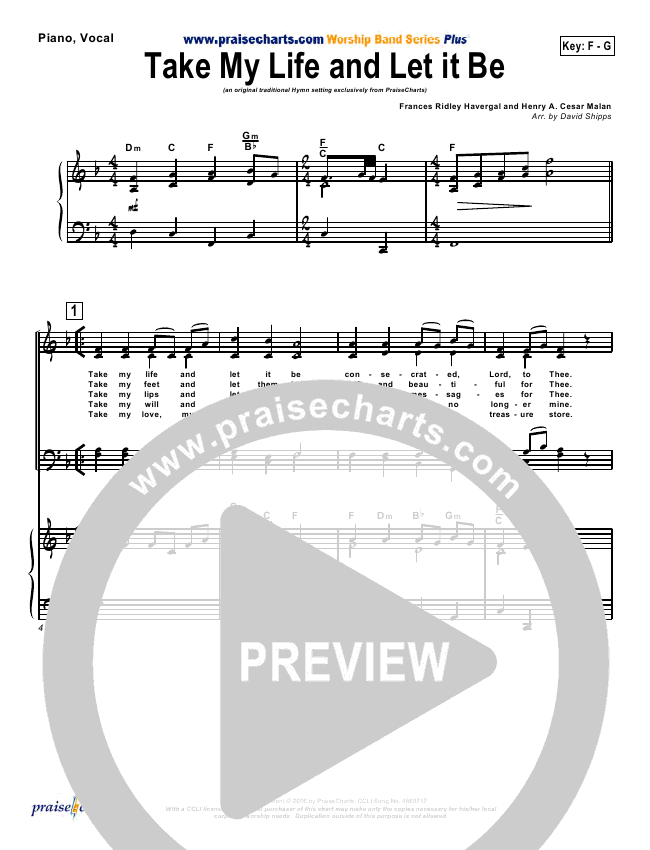 Take My Life And Let It Be Orchestration (PraiseCharts / Traditional Hymn)