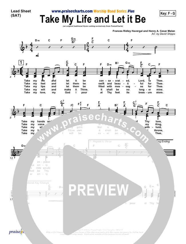 Take My Life And Let It Be Lead & Piano/Vocal (PraiseCharts / Traditional Hymn)