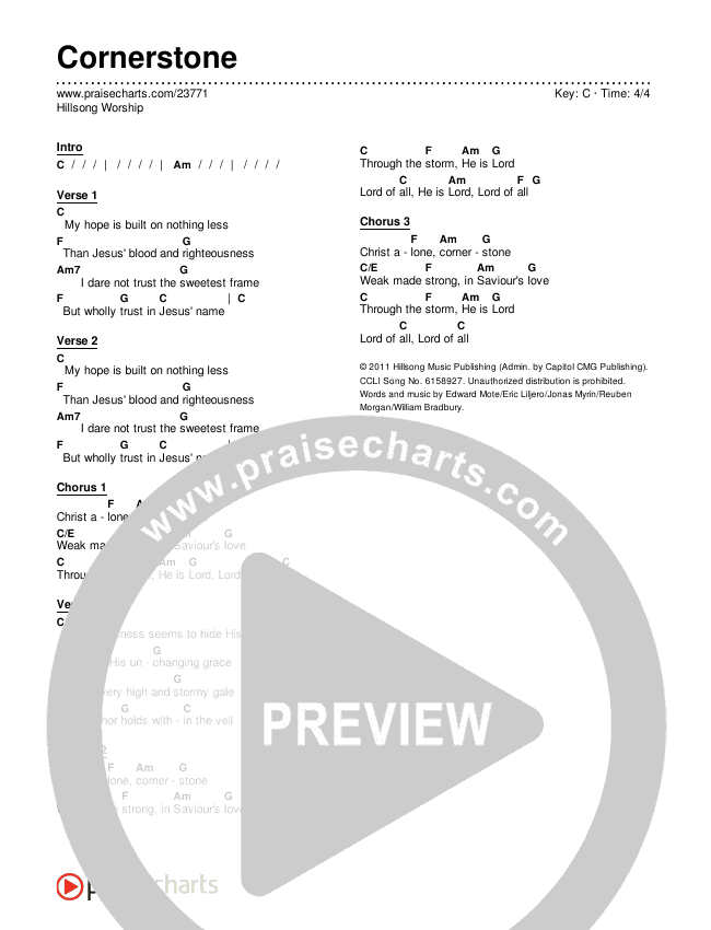 Cornerstone Chords & Lyrics (Hillsong Worship)