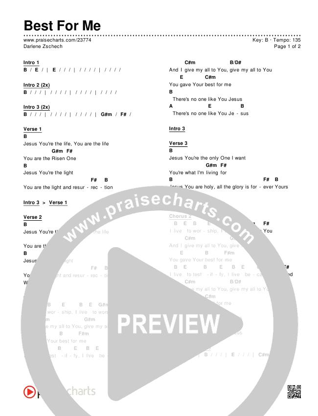 Best For Me Chords Darlene Zschech Praisecharts