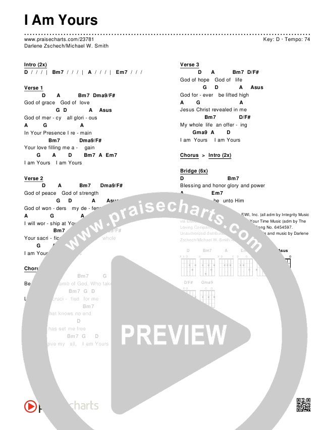 I Am Yours Chords - Darlene Zschech, Michael W. Smith | PraiseCharts