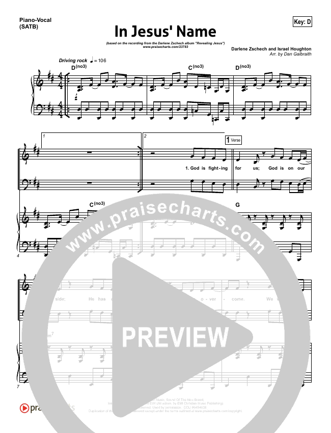 In Jesus' Name Piano/Vocal (SATB) (Darlene Zschech)