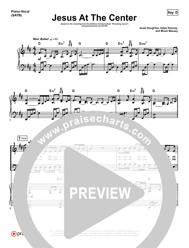 Jesus At The Center Piano/Vocal (SATB) (Darlene Zschech)