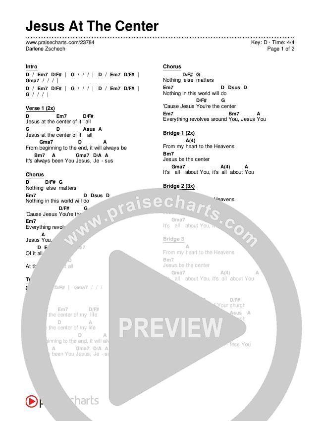 Jesus At The Center Chords - Darlene Zschech | PraiseCharts