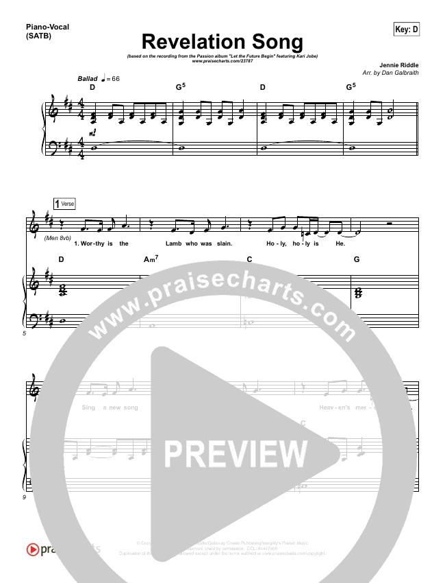 Revelation Song Piano/Vocal (SATB) (Kari Jobe / Passion)