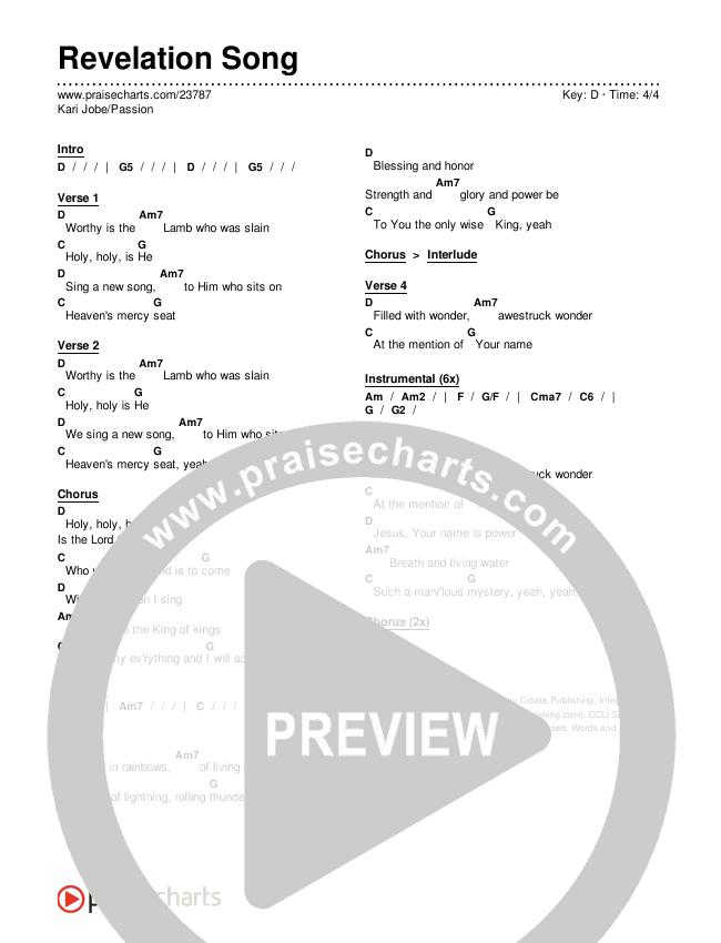 Revelation Song (Live) Chords & Lyrics (Kari Jobe / Passion)