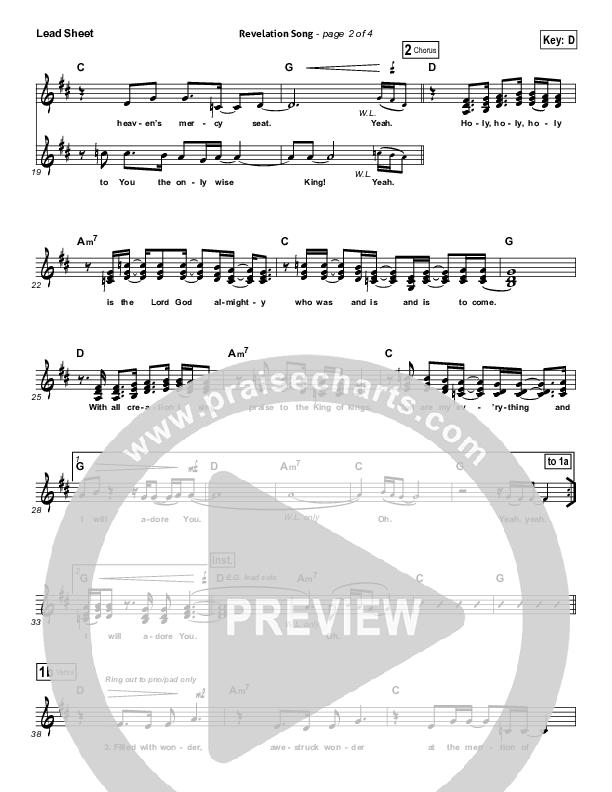 Revelation Song (Live) Lead Sheet (SAT) (Kari Jobe / Passion)