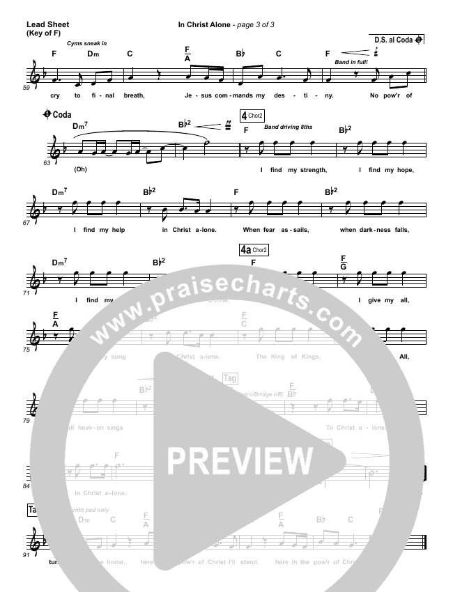In Christ Alone Lead Sheet (Melody) (Kristian Stanfill / Passion)