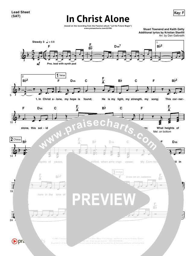 In Christ Alone Lead Sheet Pianovocal Kristian Stanfill