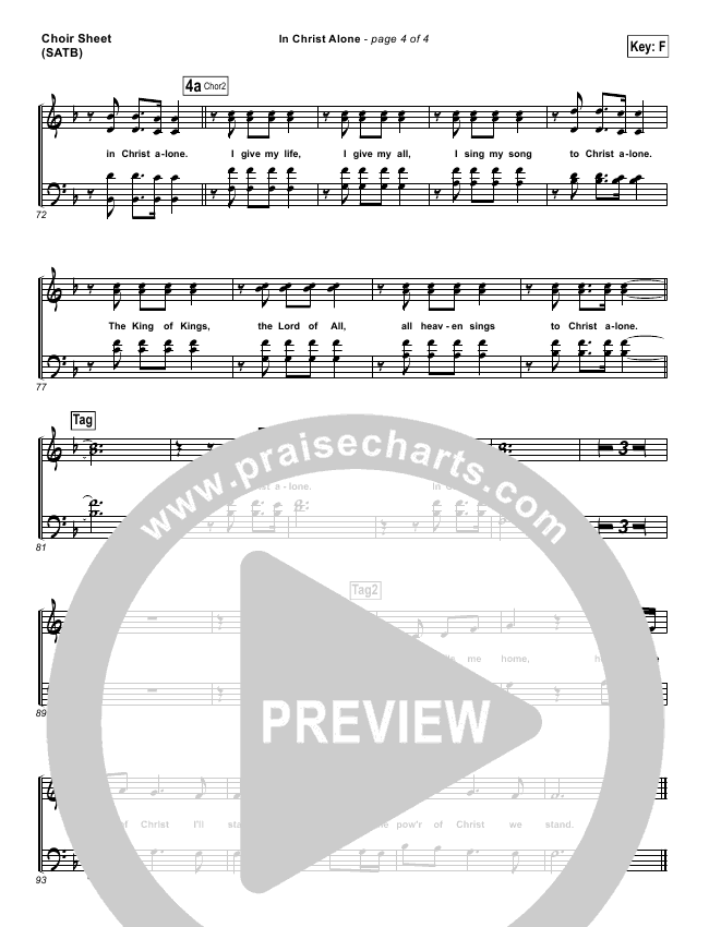 In Christ Alone Choir Sheet (SATB) - Kristian Stanfill, Passion ...