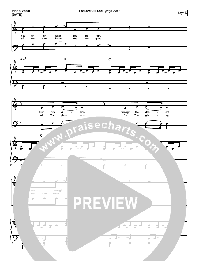 The Lord Our God Piano/Vocal (SATB) (Kristian Stanfill / Passion)