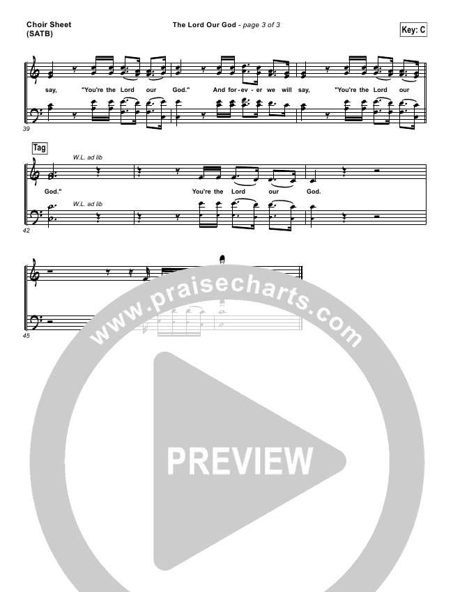 The Lord Our God Choir Sheet (SATB) (Kristian Stanfill / Passion)
