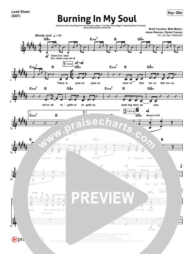 Burning In My Soul Lead Sheet (SAT) (Passion / Brett Younker)