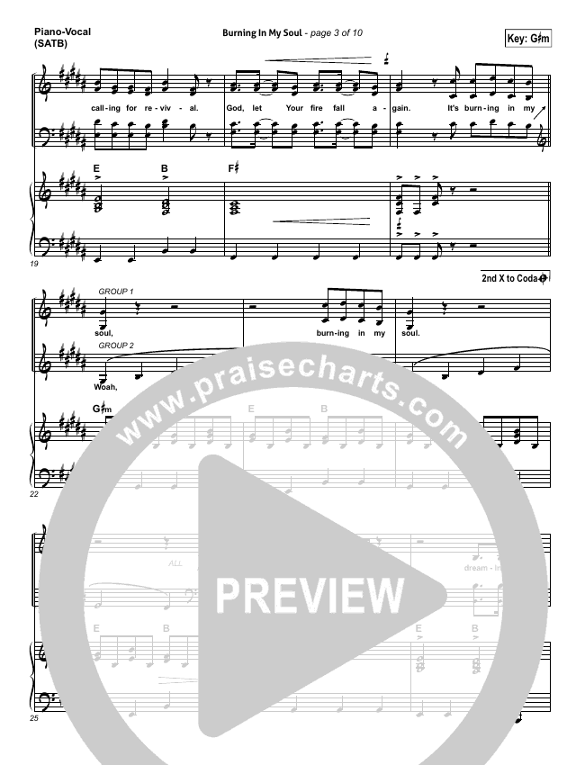 Burning In My Soul Piano/Vocal (SATB) (Passion / Brett Younker)