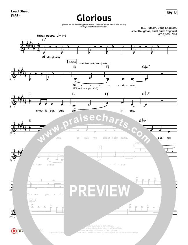 Glorious Lead Sheet Pianovocal Bj Putnam Praisecharts