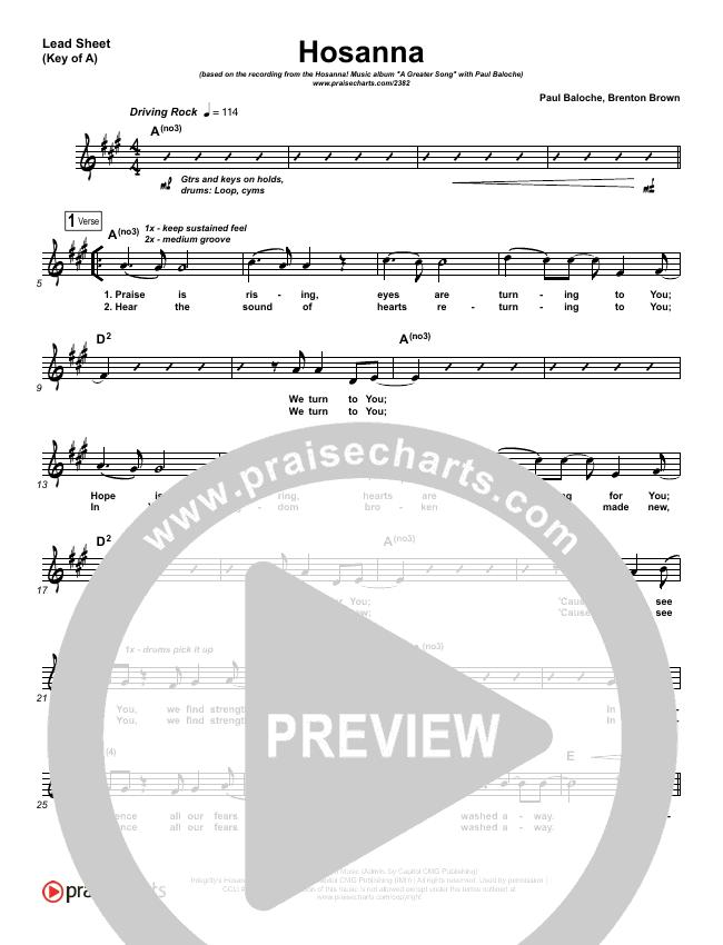 Hosanna (Praise Is Rising) Lead Sheet (Melody) (Paul Baloche)