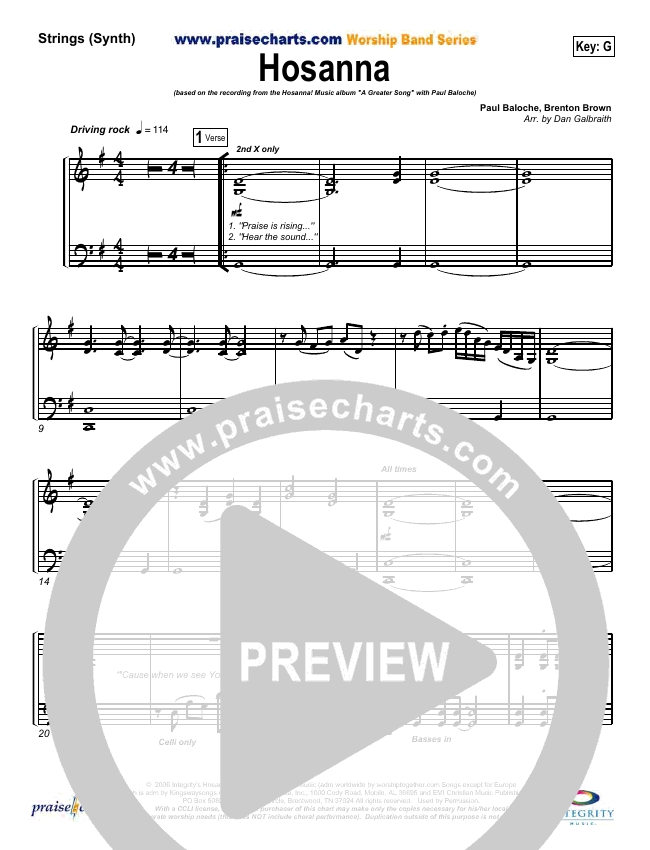 Hosanna (Praise Is Rising) String Pack (Paul Baloche)