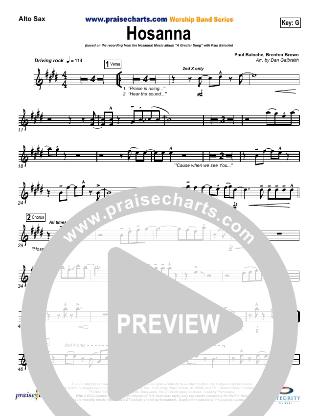 Hosanna (Praise Is Rising) Wind Pack (Paul Baloche)
