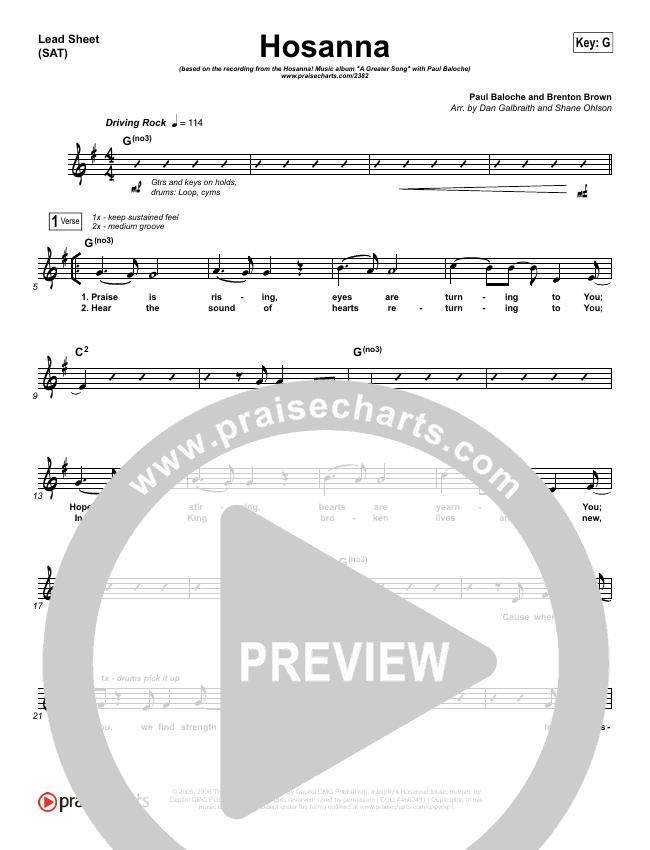 Hosanna (Praise Is Rising) Lead Sheet (SAT) (Paul Baloche)