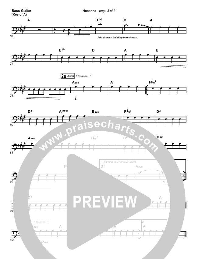 Hosanna (Praise Is Rising) Bass Guitar (Paul Baloche)