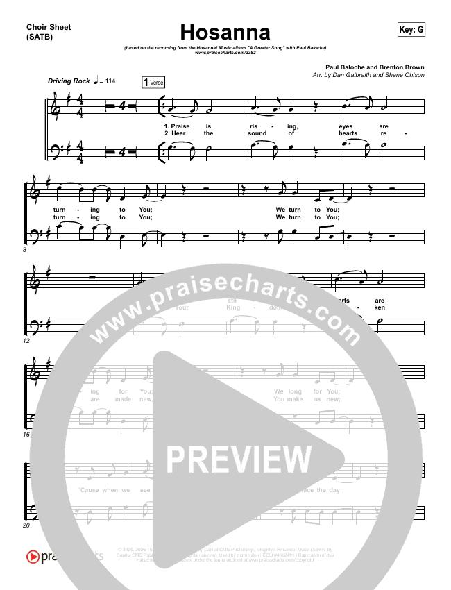 Hosanna (Praise Is Rising) Choir Sheet (SATB) (Paul Baloche)