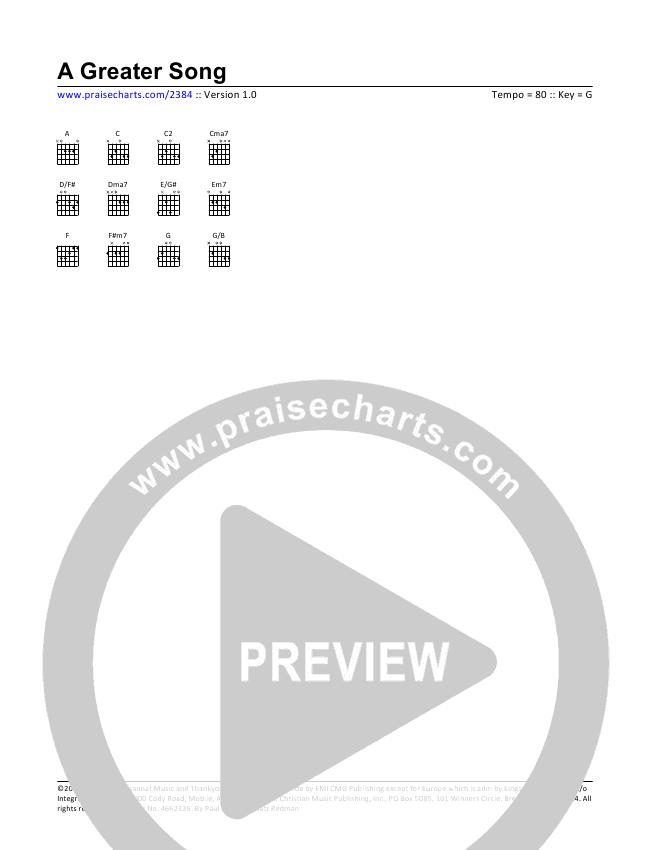A Greater Song Chord Chart (Paul Baloche)