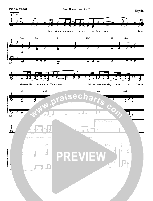 Your Name Piano/Vocal (SATB) (Paul Baloche)