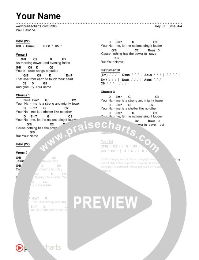 Your Name Chords & Lyrics (Paul Baloche)