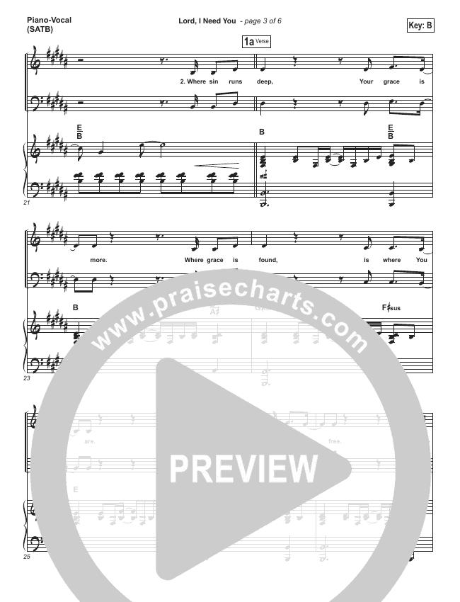 Lord I Need You Piano/Vocal (SATB) (Matt Maher)
