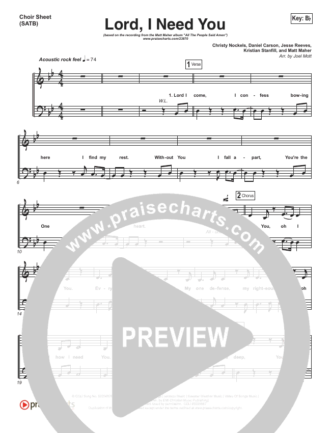 Lord I Need You Choir Sheet Satb Matt Maher Praisecharts